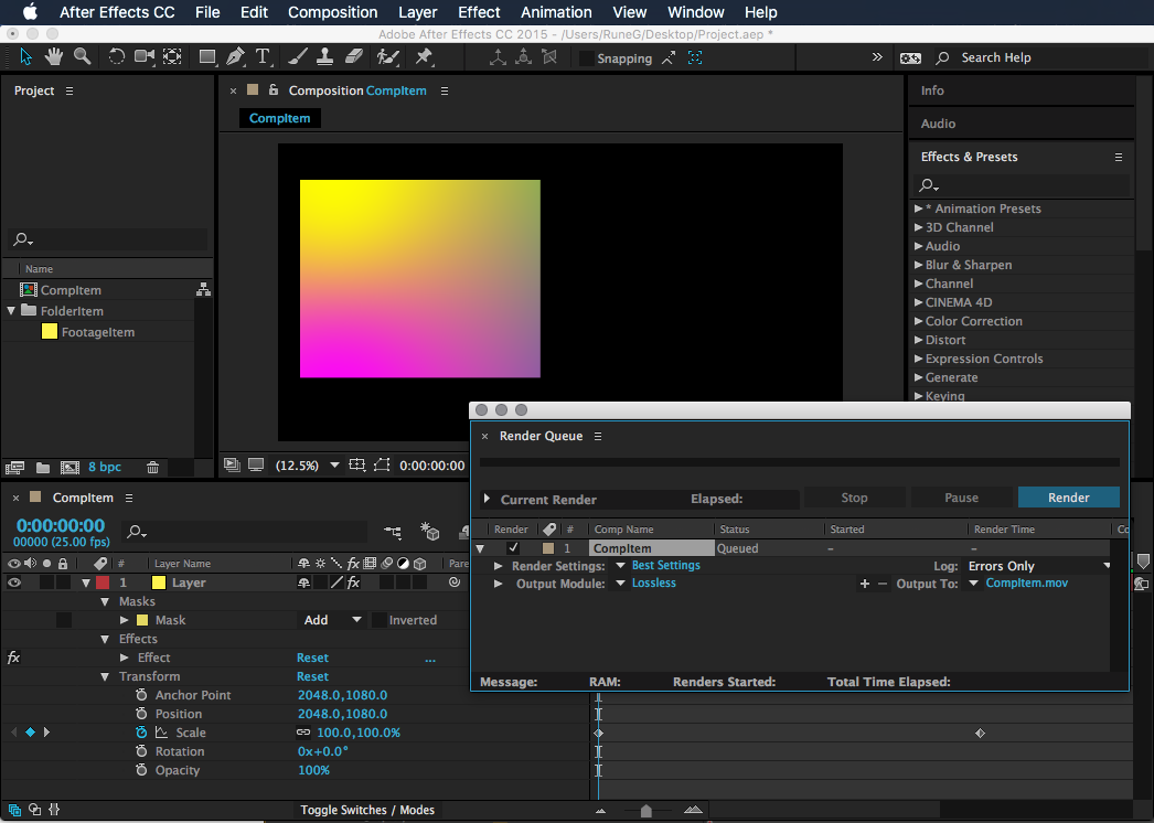 After Effects User Interface